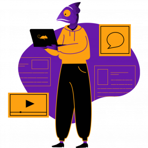 Chameleon with laptop illustration